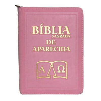B�blia Sagrada de Aparecida com Capa de Ziper Simples na cor Rosa