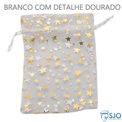Saquinho de Organza 8 x 12 - Estrelas Douradas