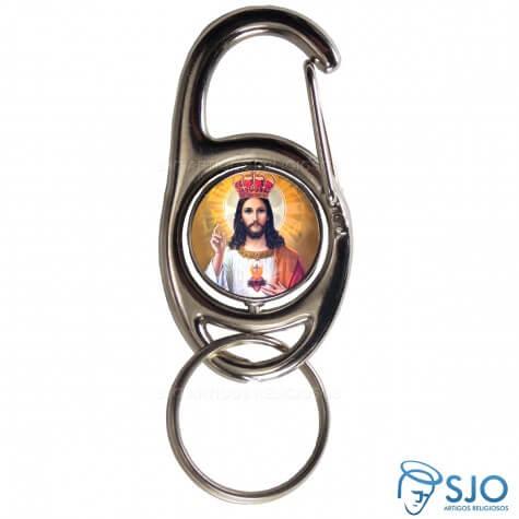 Chaveiro Mosquetão Giratório Cristo Rei