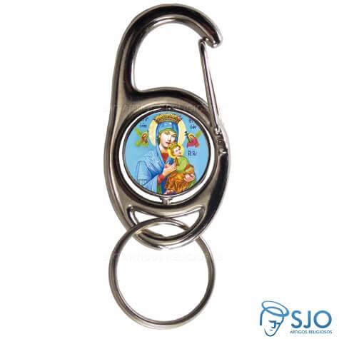 Chaveiro Mosquetão Giratório Nossa Senhora do Perpétuo Socorro