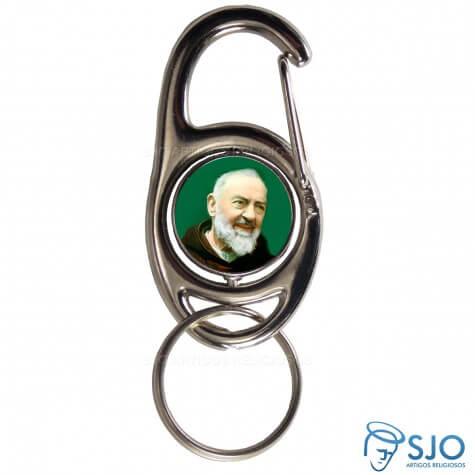 Chaveiro Mosquet�o Girat�rio Padre Pio