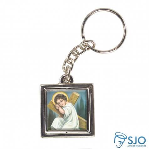 Chaveiro Quadrado Giratório do Menino Jesus - Modelo 2