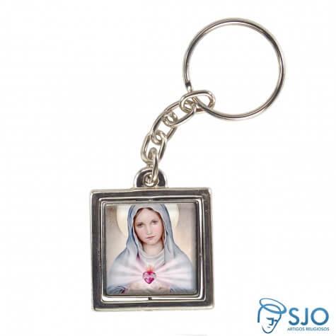 Chaveiro Quadrado Giratório de Nossa Senhora da Chama do Amor