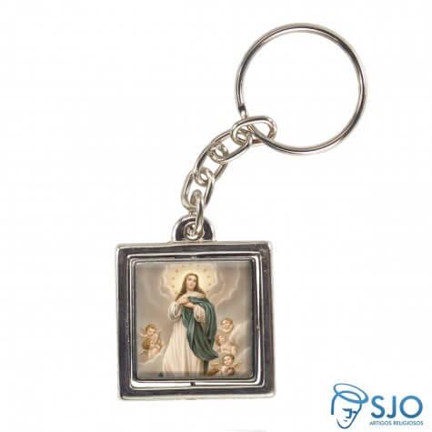 Chaveiro Quadrado Giratório de Nossa Senhora da Imaculada Conceição