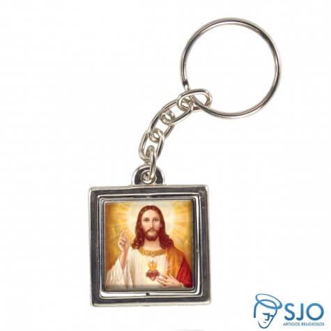 Chaveiro Quadrado Girat�rio da Sagrado Cora��o de Jesus - Modelo 2