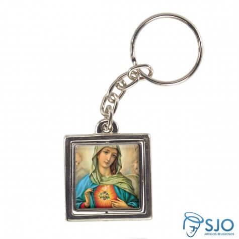 Chaveiro Quadrado Girat�rio da Sagrado Cora��o de Maria