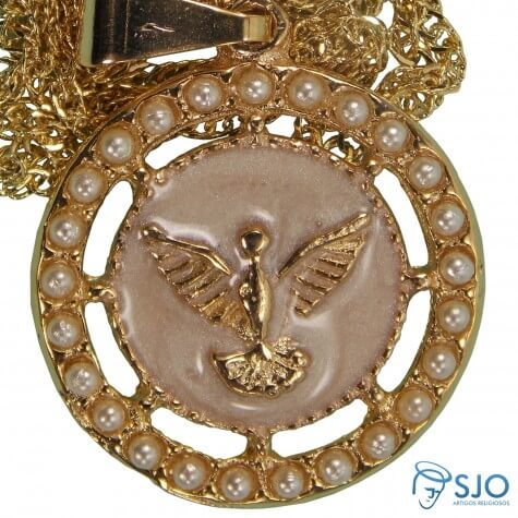 Colar Folheado a Ouro Medalha Divino Espirito Santo