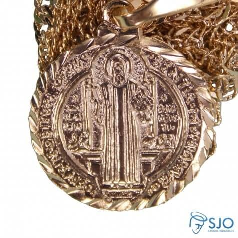 Colar Folheado a Ouro Medalha de São Bento