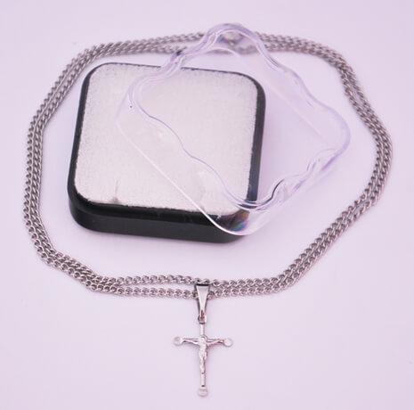 Cruz de Inox Pequeno com Cristo - 30 cm.