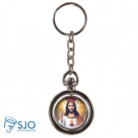 Chaveiro Redondo Girat�rio - Cristo Rei
