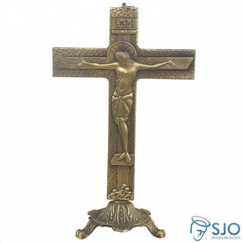 Crucifixo Estilizado Ouro Velho para Mesa - 25 cm