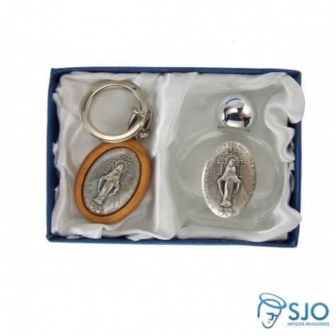 Kit Porta Água Benta + Chaveiro da Medalha Milagrosa 02