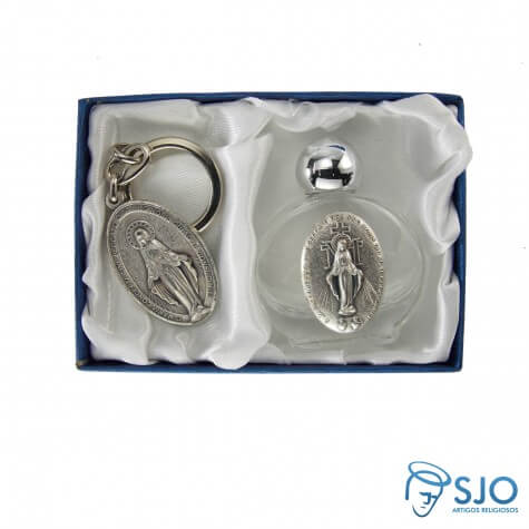 Kit Porta Água Benta com Chaveiro da Medalha Milagrosa