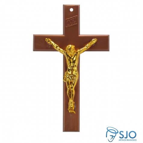 Crucifixo de Parede Marrom com Cristo Dourado - 15 cm