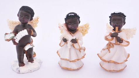 Imagem de resina Anjo Negrinho com 3 peças - 8 cm