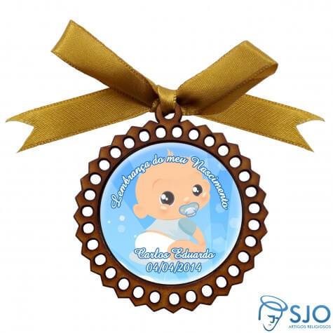 Medalhão de Madeira para Lembrancinha de Nascimento