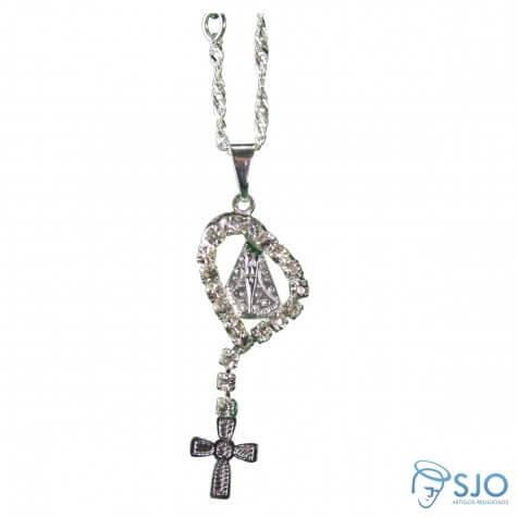 Colar de Nossa Senhora Aparecida com Crucifixo Folheado a Prata