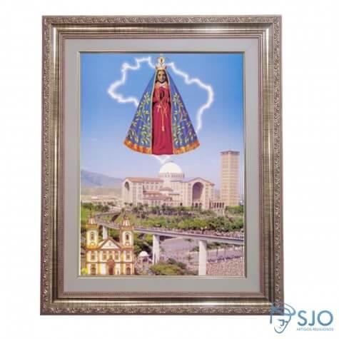 Quadro - Nossa Senhora Aparecida com Basílica e Passarela ao fundo - 52 cm x 42 cm