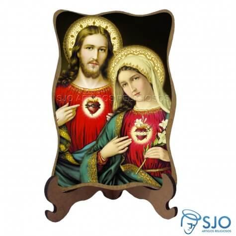 Porta-Retrato Sagrado Coração de Jesus e Maria
