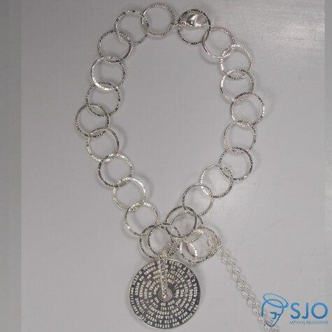 Pulseira Folheada a Prata com Medalha Pai Nosso - 30 cm