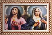 Quadro Religioso Sagrado Coração de Jesus e Maria - Mod. 2