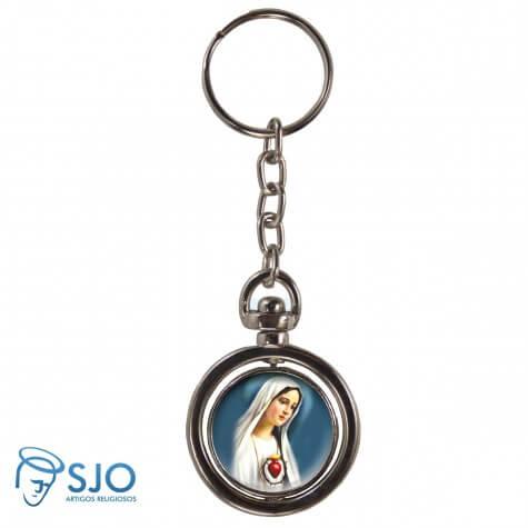 Chaveiro Redondo Giratório - Sagrado Coração de Maria - Modelo 2