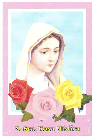 Santinhos de Ora��o Nossa Senhora da Rosa M�stica