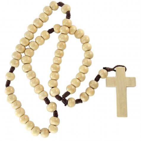 Terço de madeira marfim no cordão