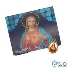 100 Cartões com Medalha do Sagrado Coração de Jesus