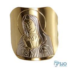 Anel Sagrado Cora��o de Maria Folheado a Ouro