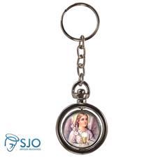 Chaveiro Redondo Girat�rio - Anjo Eucaristia - Modelo 1