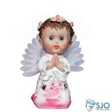 Anjo com Luz e Oração - 25 cm Rosa