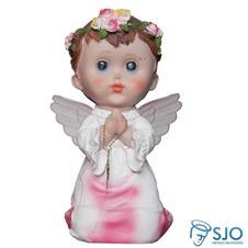 Anjo com Asa de Acrílico e Oração - 20 cm Rosa