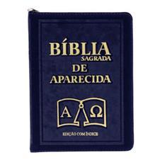 B�blia Sagrada de Aparecida com Capa de Ziper na cor Azul e �ndice Vermelho