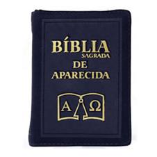 Bíblia Sagrada de Aparecida com Capa de Ziper Simples na cor Azul