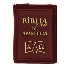 Bíblia Sagrada de Aparecida com Capa de Ziper Simples na cor Bordo