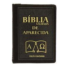 Bíblia Sagrada de Aparecida com Capa de Ziper na cor Marrom e Índice Vermelho
