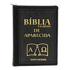 Bíblia Sagrada de Aparecida com Capa de Ziper na cor Preta e Índice Dourado