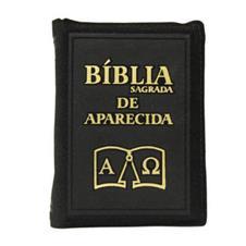 Bíblia Sagrada de Aparecida com Capa de Ziper Simples na cor Preta