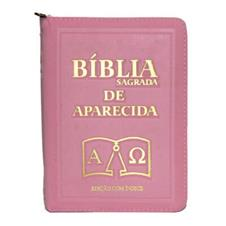 Bíblia Sagrada de Aparecida com Capa de Ziper na cor Rosa e Índice Dourado
