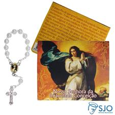 Cartão com Mini Terço de Nossa Senhora da Imaculada Conceição