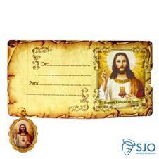 Cartão com Medalha - Sagrado Coração de Jesus