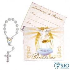 100 Cartões com Mini Terço de Batismo