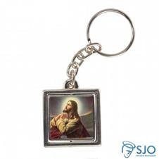 Chaveiro Quadrado Giratório de Jesus Orando