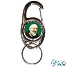 Chaveiro Mosquetão Giratório Padre Pio