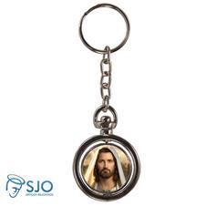 Chaveiro Redondo Giratório - Rosto de Jesus