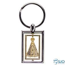 Chaveiro Quadrado Prata e Dourado de Nossa Senhora Aparecida