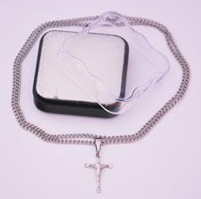 Cruz de Inox Pequeno com Cristo - 30 cm