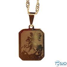 Medalha Folheada a Ouro São Jorge - 26 cm