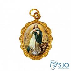 Medalha de Alumínio - Nossa Senhora da Imaculada Conceição - Modelo 03 Dourado